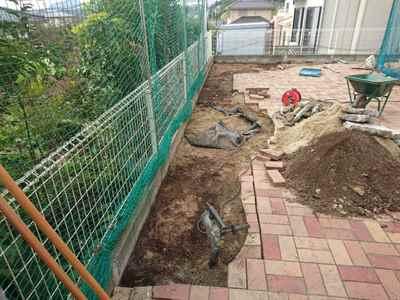 お庭の雑用工事 花壇撤去作業-05